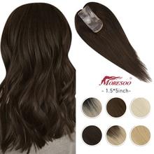 Moresoo Hair Topper Human Hair 1.5*5 inches Toupee Women Machine Remy Hair Straight Hair Pieces Clip in Mono Topper Human Hair