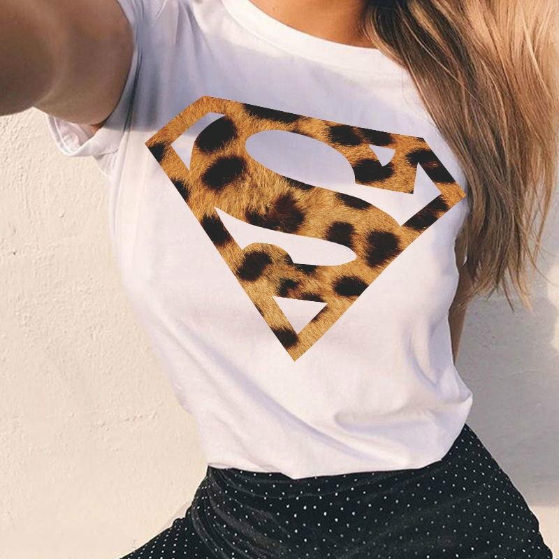 2019 Summer Women Graphic Fashion   T  -  shirt   White Tee Cool Leopard Womens   Shirt   Short Sleeve Tops Tee Tee Super Tshirt Hero Tops