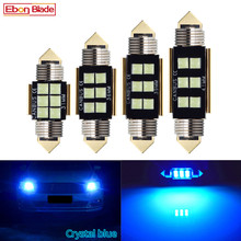 Lâmpada led canbus 4 x c5w, 12v, festoon, 31mm, 36mm, 39mm e 41mm, c5w, c10w iluminação de leitura para interior do carro, mapa de luz 3030 6smd azul gelo