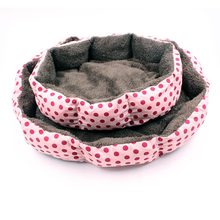 Dotted Octagonal Kennel Super Soft Cotton Velvet Winter Warm Dog Bed Cat Nest Removable Wash Wave Pet Nest(China)