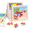 11X11CM Kids Wooden Puzzle Cartoon Animal Traffic Tangram Wood Puzzle Toys Wooden Toys Homeschool Supplies Educational