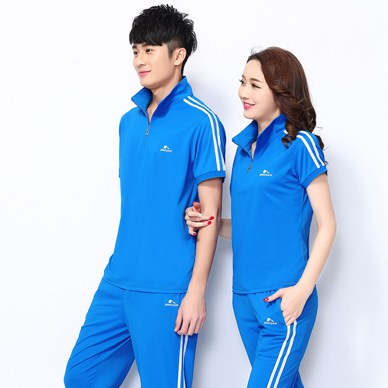 Jin Crown Summer Short-sleeved Trousers Sports Clothing Set Men And Women Jiamusi Square Dance Fitness Exercise Middle-aged Grou