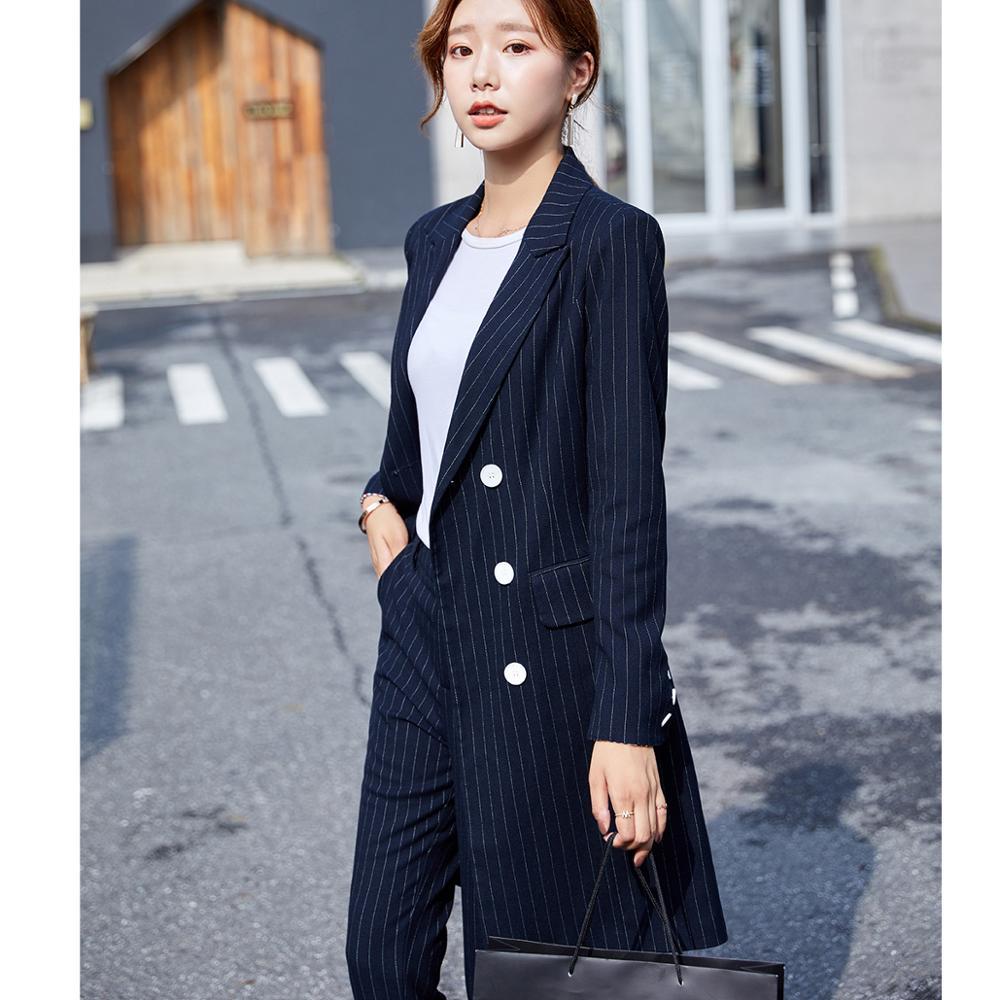 Formel femmes Blazer pantalon costume pour bureau dame longue rayure Blazer costume ensembles noir bleu veste et pantalon 2 pièces ensembles - 4