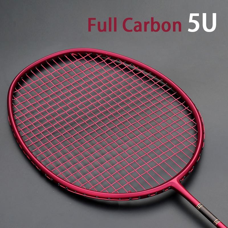 High Quality Ultralight 5U Carbon Fiber Badminton Rackets Strings Bag Max 30LBS Professional Racket Racquet Strung Sports Padel