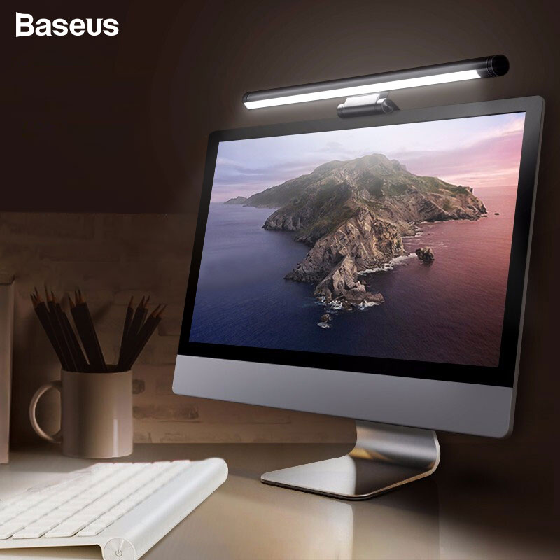BASEUS Screenbar LED โคมไฟตั้งโต๊ะคอมพิวเตอร์แล็ปท็อปหน้าจอบาร์แขวนโคมไฟ USB Light สำหรับอ่านหนังสือสำหรับ ...