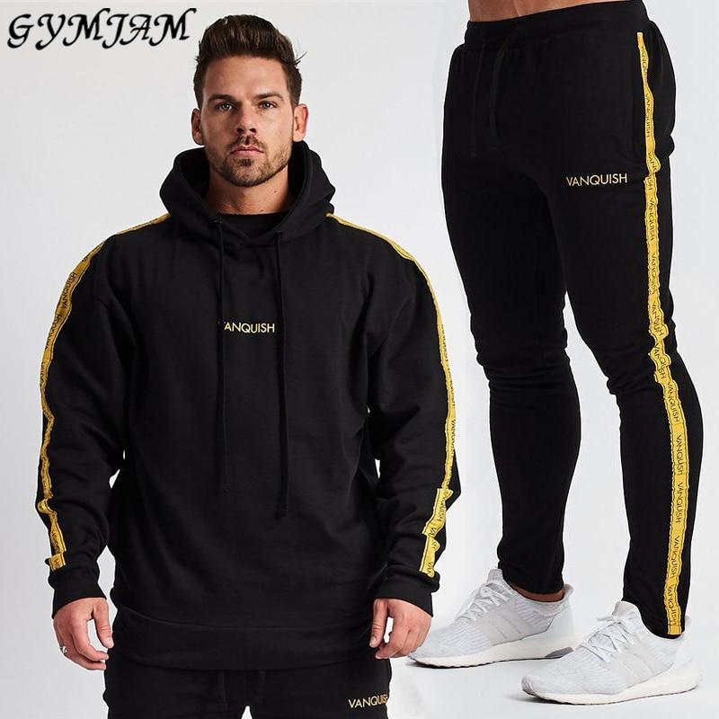 Sports Fitness Brand Men's Clothing Outdoor Casual Men's Suit Cotton Loose Hoodie + Cotton Men's Trousers Fitness Suit