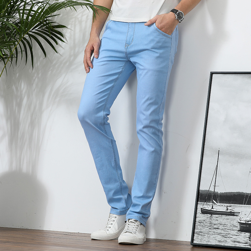 Spring Slim Fit Jeans Elasticity Korean-style Business Straight-leg Pants Teenager Versatile Cowboy Long Pants