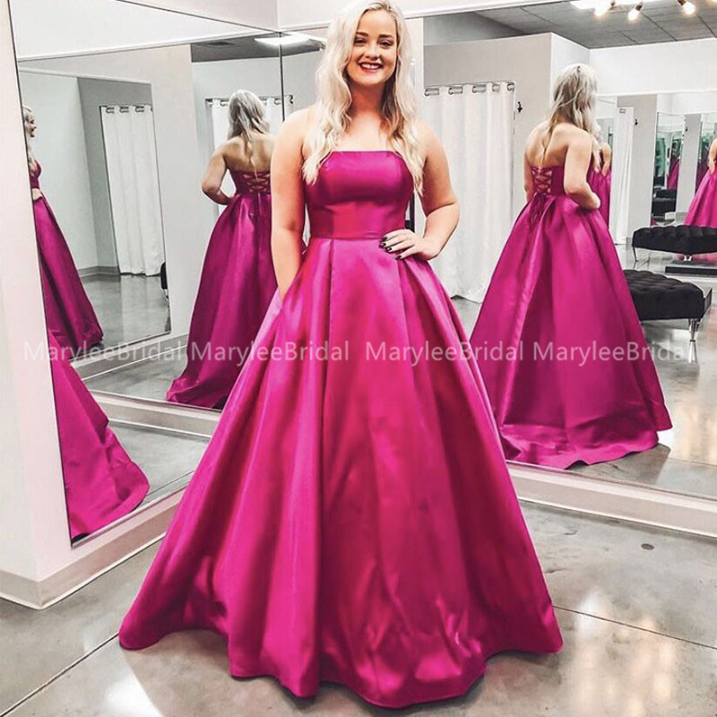 Strapless A-line Fuchsia Prom Dress Draped Skirt Long Satin Evening Dress Sweep Train Formal Party Gowns Lace Up Back Prom Gowns
