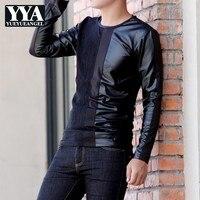 Fashion Korean Men Slim Long Sleeve T Shirt Casual Pu Leather Patchwork Pullover Tops High Street Autumn Black T Shirt Plus Size