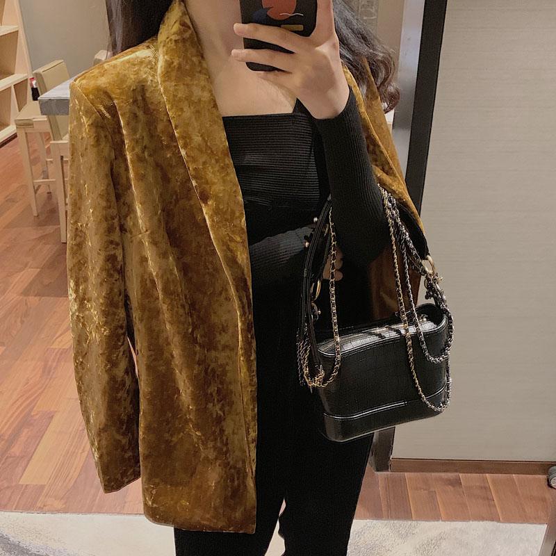 HziriP New Arrival Vintage Gold Velvet Blazer Coat Elegant OL Long Sleeve Jacket Casual Outwear Fashion Tops 2020 Spring Blazers