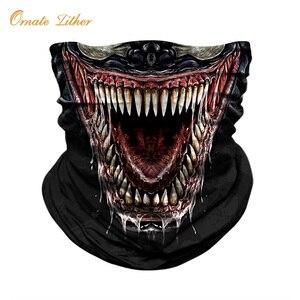 Máscara de rostro pañuelo para ciclismo, polaina para cuello de Halloween, diadema para exteriores, Venom, pasamontañas para esquiar tubo de animales, bufanda, Escudo de cráneo