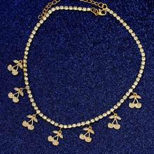 Женское колье flatfoosie Золотистое Ожерелье чокер с блестящими