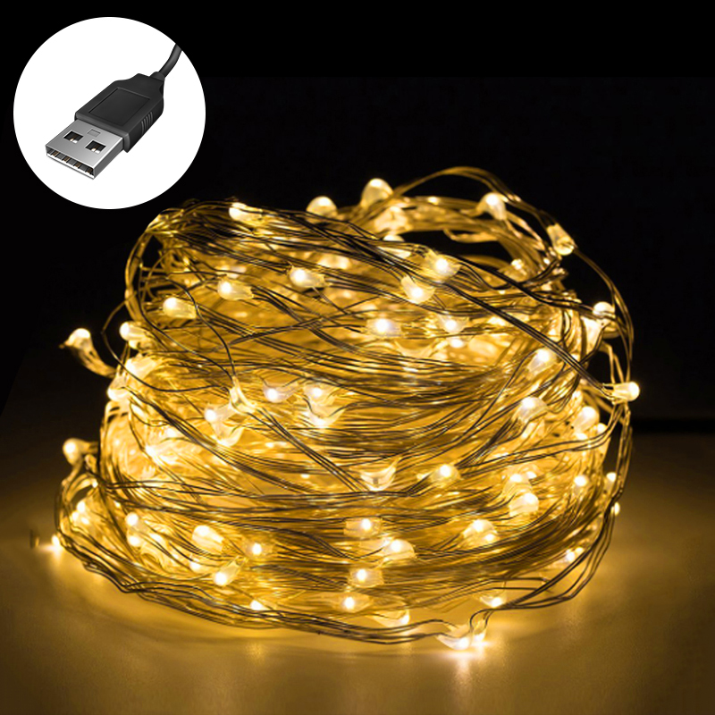 1/2/3/4/5/6/10m USB LED Strip String Lights Copper Wire String Light For Christmas Party Wedding Decor Holiday Outdoor Lights