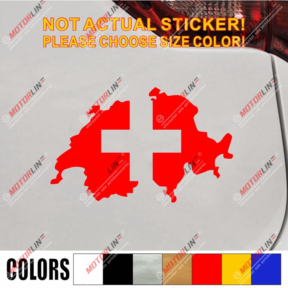 SWITZERLAND FLAG Decal Vinyl Sticker chrome or white vinyl decal and 15 sizes!