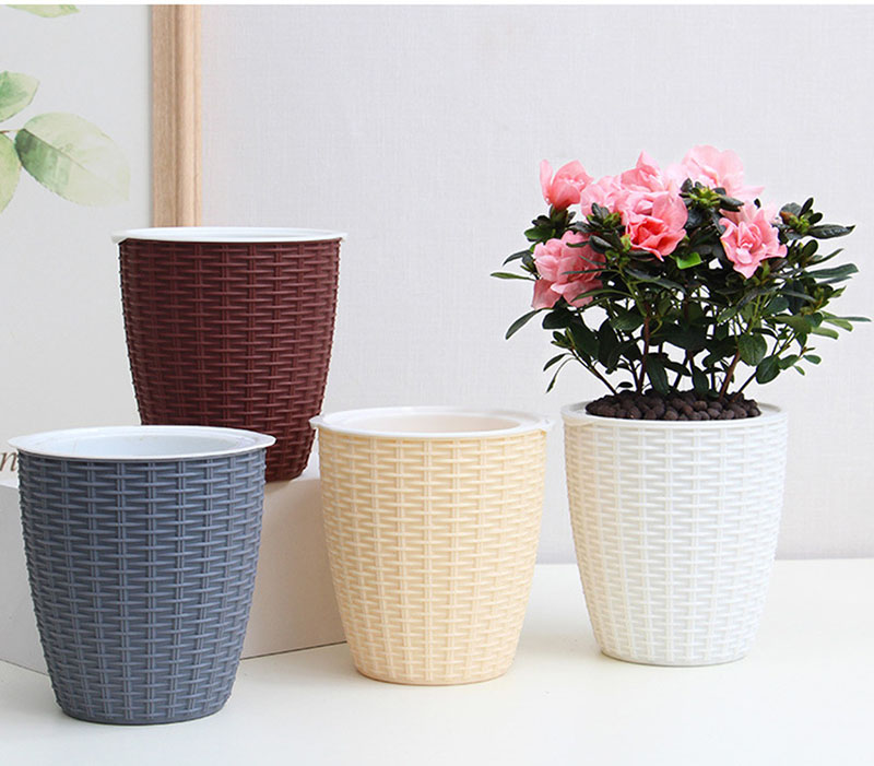 Imitation Rattan Plant Flower Holder Automatic Water Absorption Cotton Rope Lazy Flower Pot Household Creative Plastic Balcony Garden Bonsai Container Home Decor