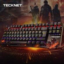 TeckNet clavier de jeu mécanique 88 touches arc en ciel rétro éclairé commutateur USB filaire Gamer Kit royaume uni disposition pour Windows PC