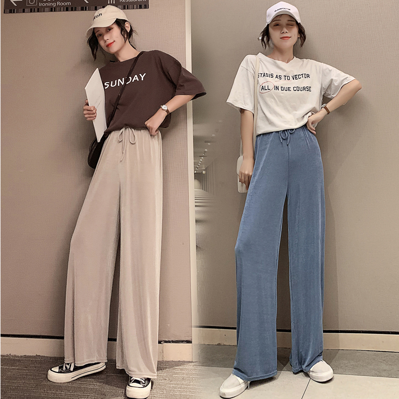 Women High Waist Pants Summer Ice Silk Knitted Straight Trousers 2020 Loose Casual Long Wide Leg Soild Color Pants Femme HH039