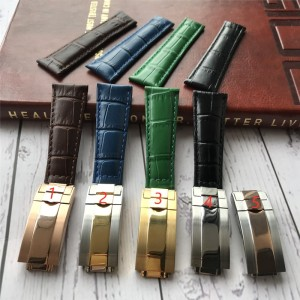 MERJUST High quality 20MM leather strap FOR role SKY-DWELLER submariner MILGAUSS Daytona Man's bracelet black green blue brown