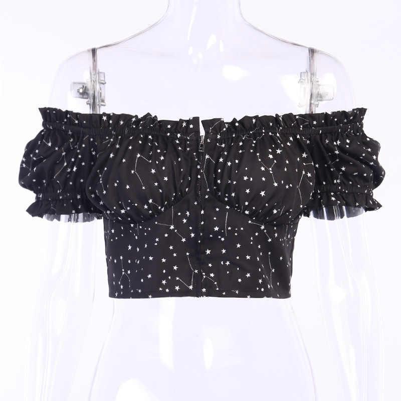 Newasia blusa feminina plissada, zipper, manga curta, babados, cropped, blusas pretas, roupa de balada, para mulheres