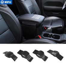 MOPAI Stowing Tidying for Jeep Wrangler JL 2018+ Leather Car Armrest Storage Box Pad Cover Accessories for Jeep Wrangler JL 2019
