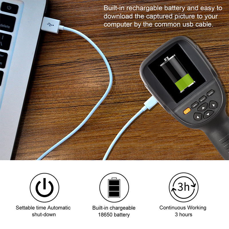 Handheld IR Thermal Imaging Camera With High-Resolution TFT Color Screen Display 14