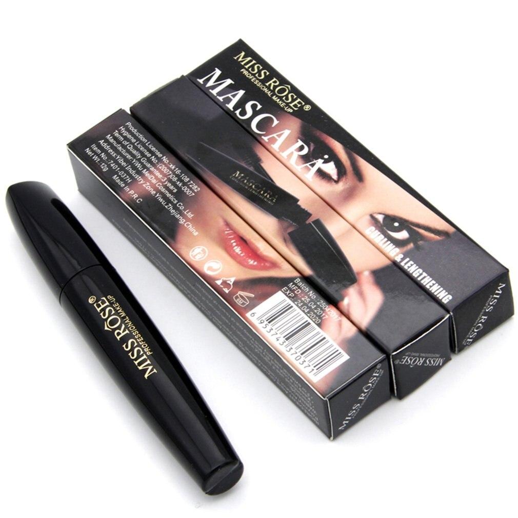 Fashionable Natural Women Black Mascara Long Lasting Waterproof Silk Fiber Lengthening Curling Eyelash Makeup Tools