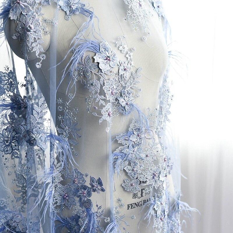 Nouveau luxe plume perles broderie dentelle tissu tissu robe de mariée ruban garniture bricolage couture dentelle bord brodé gaze