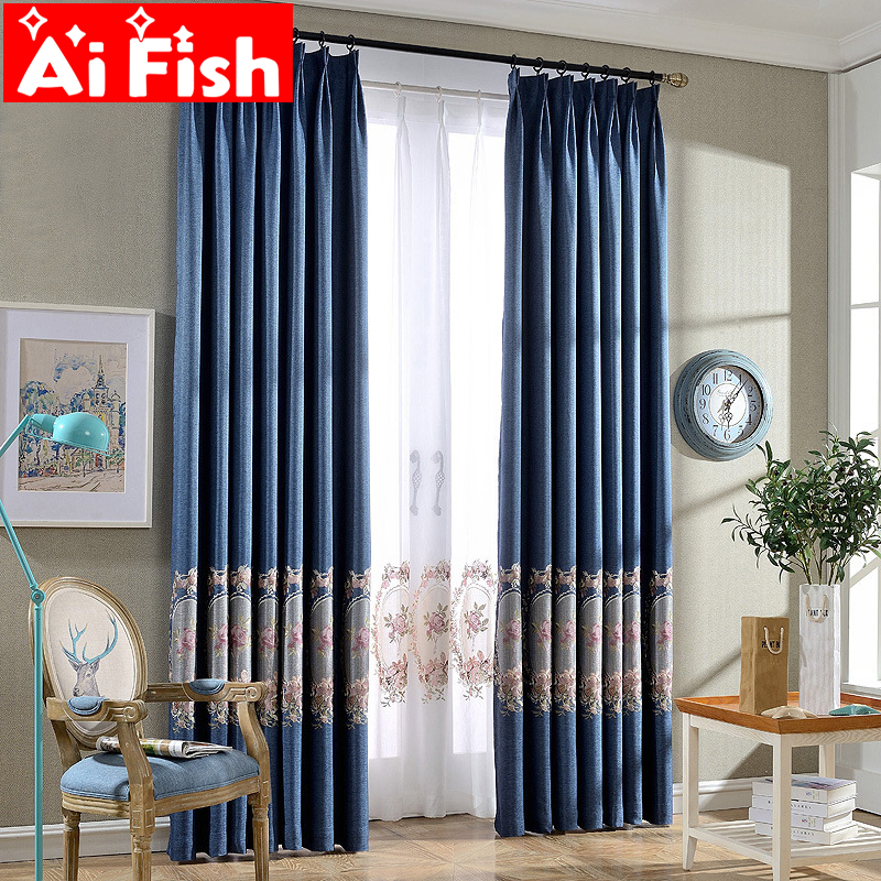 Luxury Blue High Grate Insulation Shade Curtains For Living Room Elegant Towel Embroidery European Embroidery Tulle Wp295-30