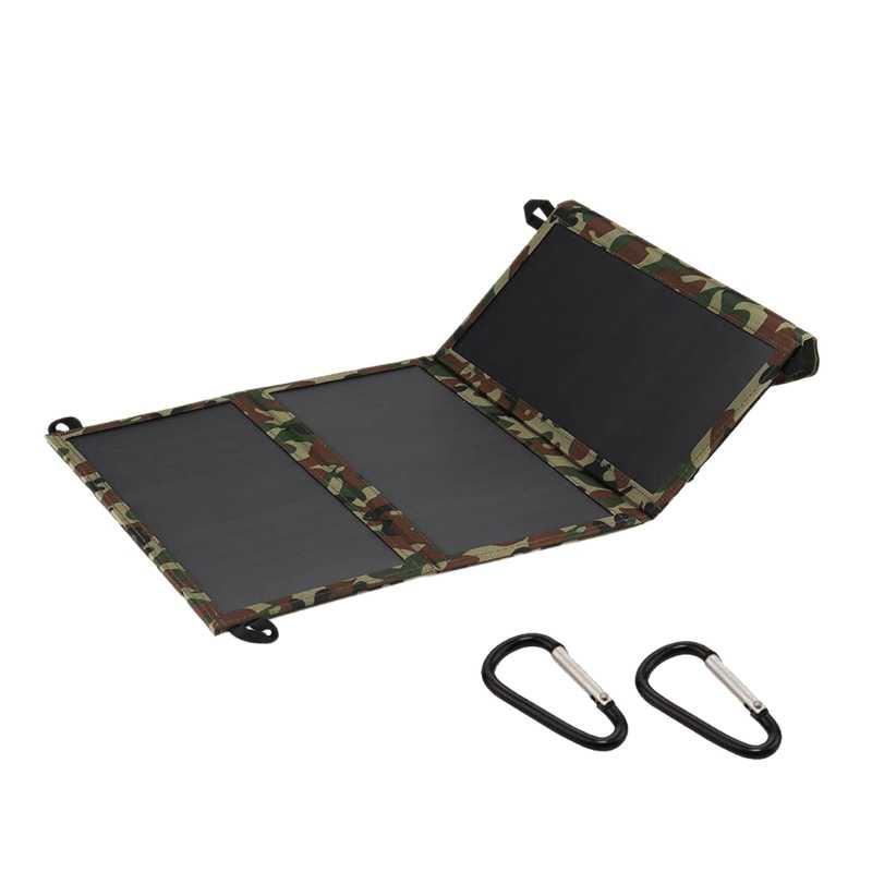 30W 5.5V 2A Sunpower Dual USB Có Thể Gập Lại Lượng Mặt Trời Cắm Trại Đi Bộ Sạc Điện Thoại