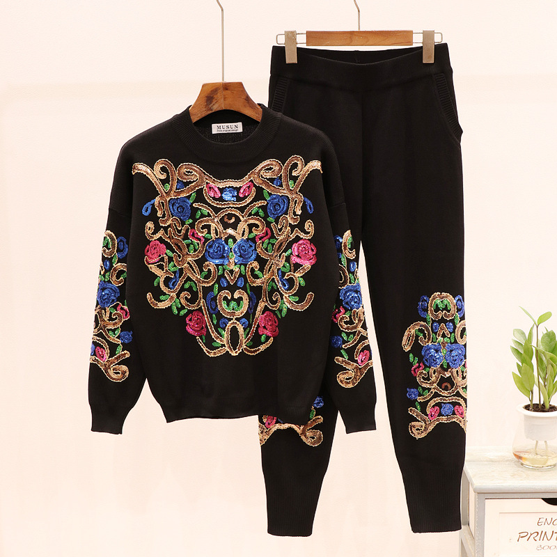 New Spring Autumn Fashion Women's Sets Embroidery Sequins Long Sleeve Knitted Shirt + Causal Long Trousers Feminine Suits