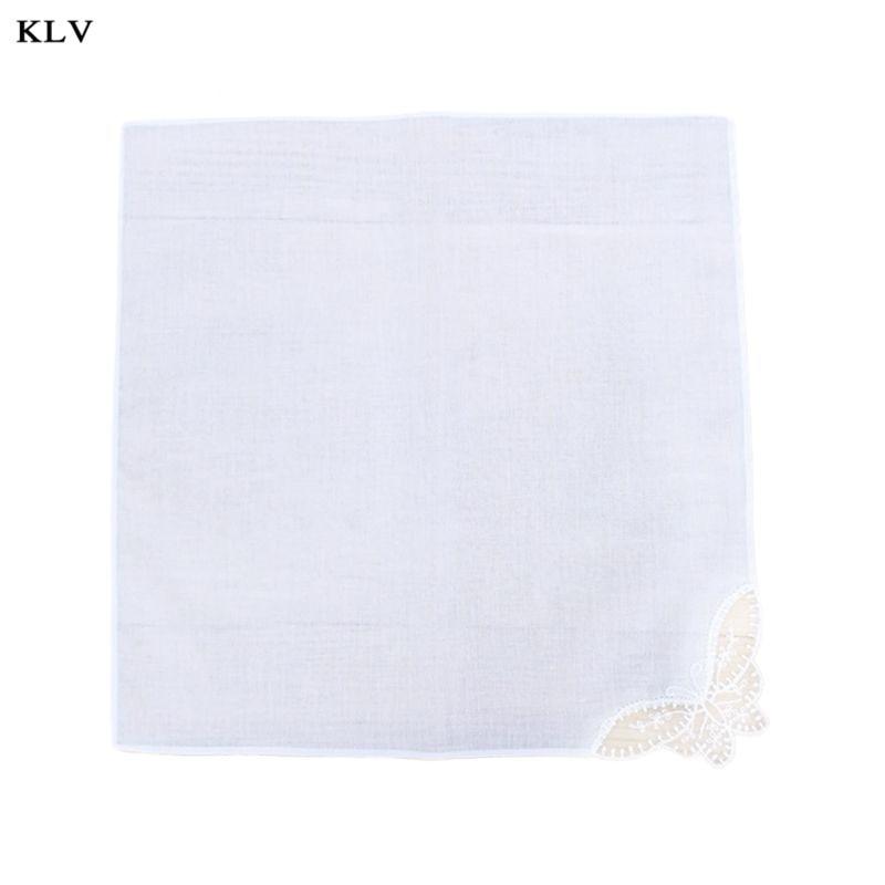 28x28cm Women Plain White Square Handkerchiefs Crochet Butterfly Lace Corner Bridal Wedding DIY Cotton Napkin Pocket Hanky Towel
