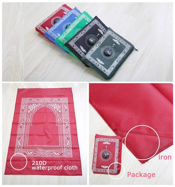 100x60cm 5 kolorów łatwe do przenoszenia mubarak muzułmanin Ramadan dywan modlitewny Mat islamski do kieszeni składany koc z kompasem