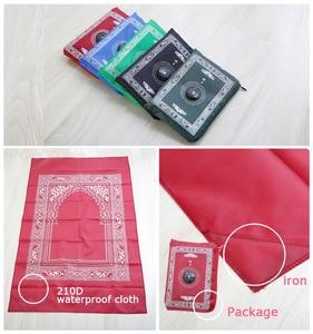 Image 1 - 100x60cm 5 색 쉽게 무바라크 무슬림 라마단 기도 깔개 매트 포켓 접는 담요에 대 한 이슬람 나침반에 대 한