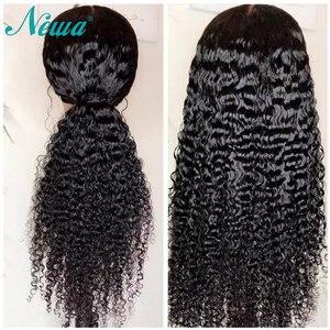 Image 1 - Newa שיער תחרה קדמי שיער טבעי פאות מראש קטף ברזילאי מתולתל תחרה מול פאות לנשים שחורות 13x6 רמי פאות עם תינוק שיער