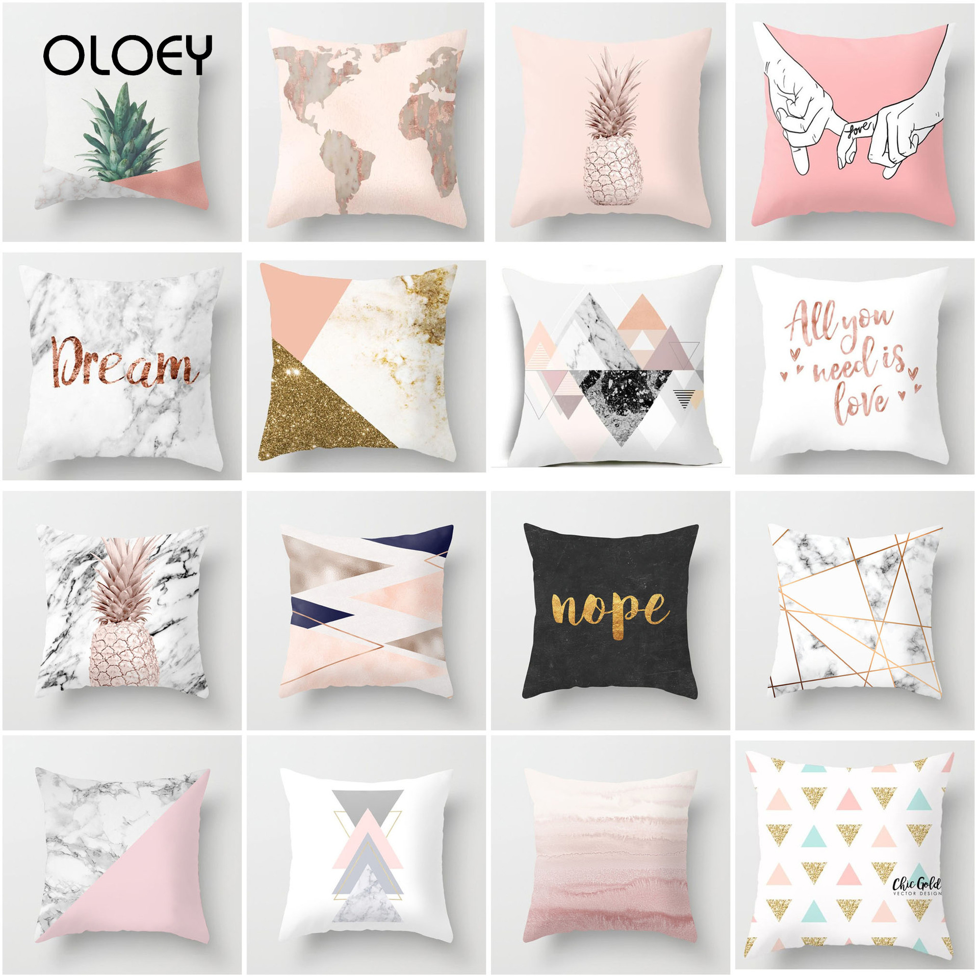 Pink Geometric Cushion Cover Nordic Pattern Pillowcase Polyester Pad Sofa Bed Decorative Pillowcase Home Hotel Sofa Decoration..