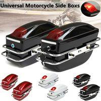 Hot New 1 Pair Universal Motorcycle Side Boxes Luggage Tank Tail Tool Bag Hard Case Saddle Bags For Kawasaki For Honda