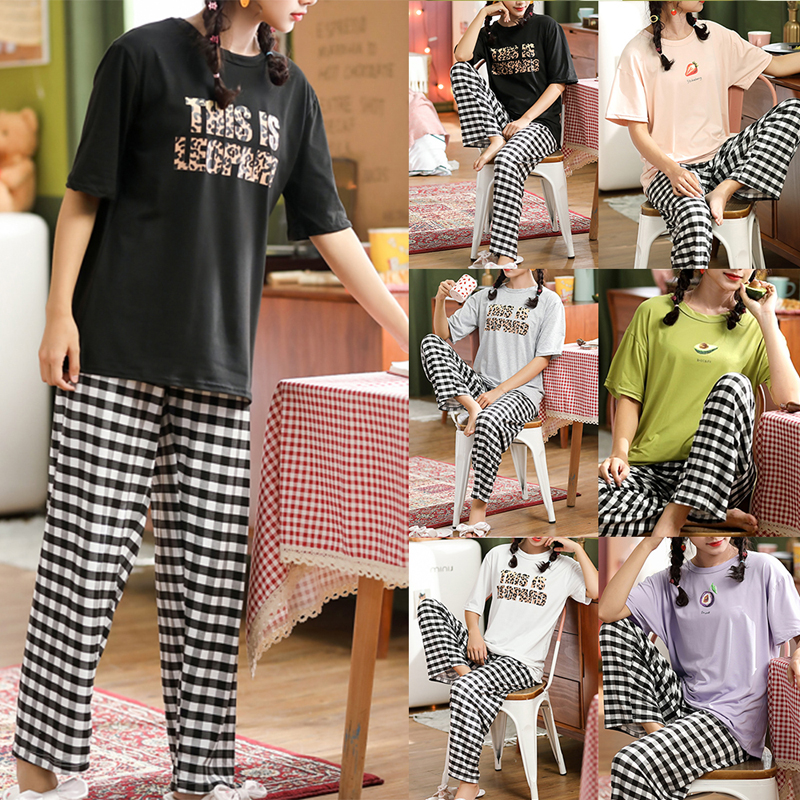 2020 Cotton Casual Women Pajamas Sets Summer Animals Print  Short Sleeve Sleepwear Sets Home Suits Nightwear For Women