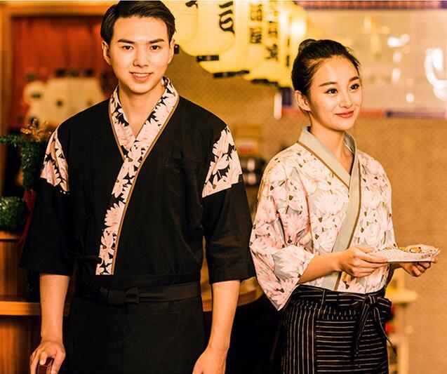 2019 Unisex Japanese Korea Style Chef Uniform Cook Shirt Medium Sleeve Kimono Restaurant Kitchen Waiter Work Uniform Apron