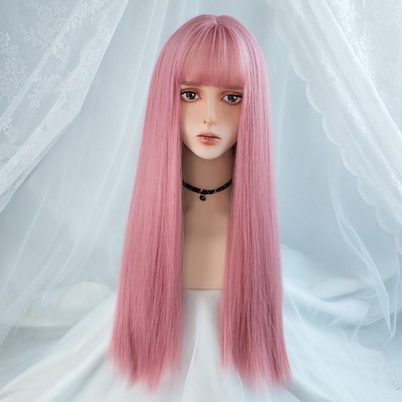 VICWIG Cosplay perruque avec frange cheveux raides synthétiques 24 pouces longue perruque rose résistant à la chaleur pour les femmes
