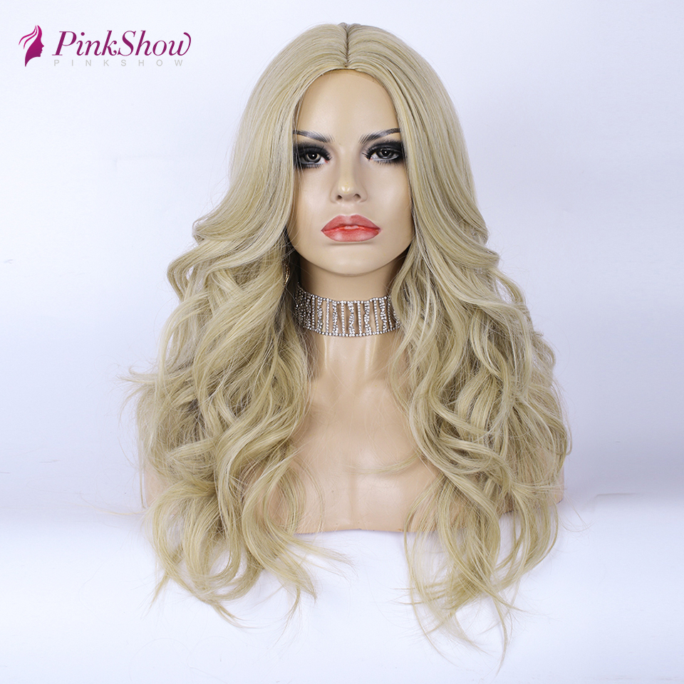 Pinkshow Ash Blonde Wig Synthetic Wigs For Women Body Wave Middle Part Natural Hairline Wig Heat Resistant Fiber Cosplay Wig