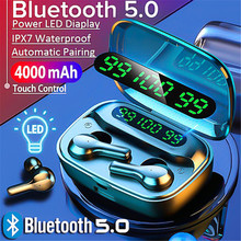 TWS Bluetooth 5.0 Earphones 4000mAh Charging Box Wireless Headphone 9D Stereo Sports Earbuds Headsets With Microphone t50 tws bluetooth headset sports touch wireless earphone 3d stereo microphone wireless earbuds charging box