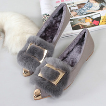 2020 Winter Warm Shoes Women Fur Flats Fashion Brand Shoes Women's Flats Ladies Sexy Pointed toe Elegant Plus Size 42 ZH2392