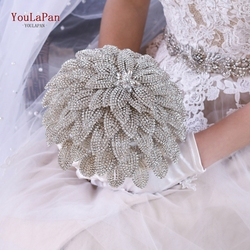 TOPQUEEN  Elegant Custom Bridal Wedding Bouquets Stunning Bridal Flower Bouquet Silver Diamond Bouquet Jewelry Bouquet HF01