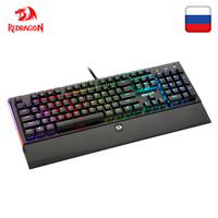 Redragon K569 RGB Aluminum USB Mechanical Gaming Keyboard Blue Switch Led Backlit 104 Key Anti Ghosting Wired PC Computer Gamer