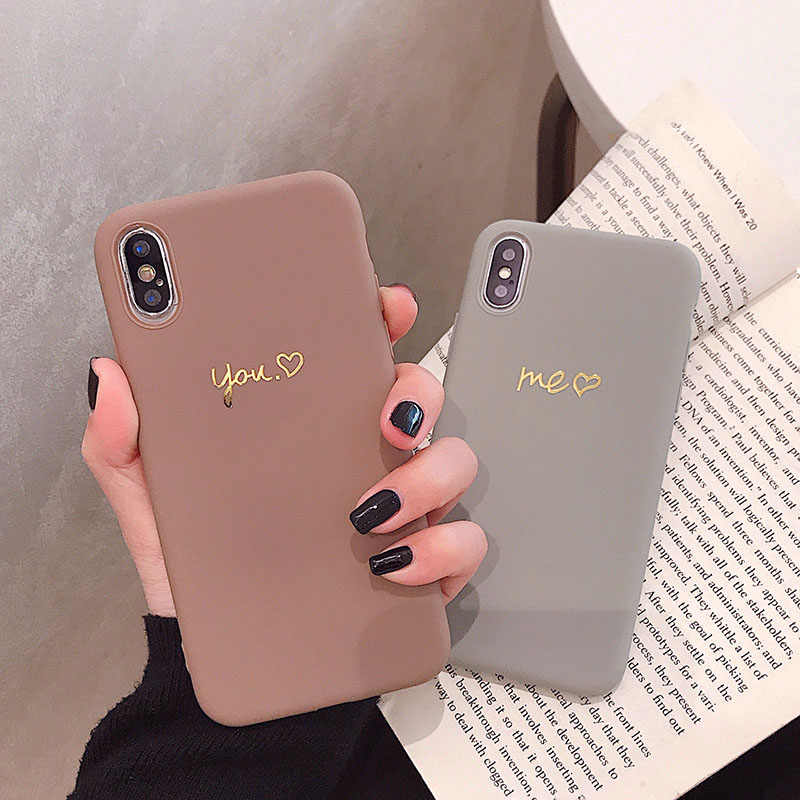 VZD Eenvoudige Effen I Love U iphone 11 Pro X 7 Case voor iphone Xs Max Xr Vrouwen Anti-Fall telefoon 6S Tpu Soft Case 8 7plus Back Cover