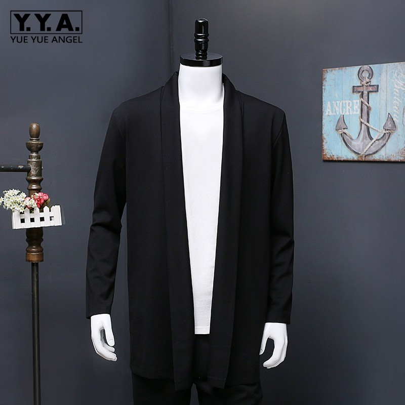 Classic Autumn Mens Knitted Cardigan Plus Size 2XL-7XL Long Trench Coat Knitwear Outerwear Loose Fit Sweater Cotton Cardigans