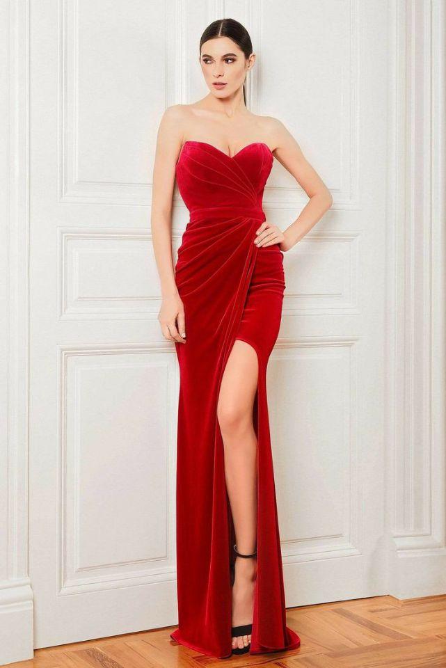Купить женское бархатное вечернее платье с юбкой годе элегантное длинное