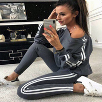 2020 Sexy Women's Clothing New Sports and Leisure Sports Suit Fashion Running Sportswear Long Sleeve Pants 2piece set women