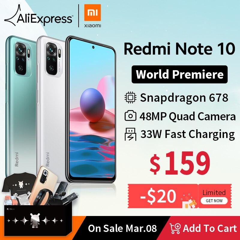 [세계 프리미어 재고 있음] 글로벌 버전 Xiaomi Redmi Note 10 스마트 폰 금어초 678 AMOLED 디스플레이 48MP 쿼드 카메라 33W|휴대 전화| - AliExpress