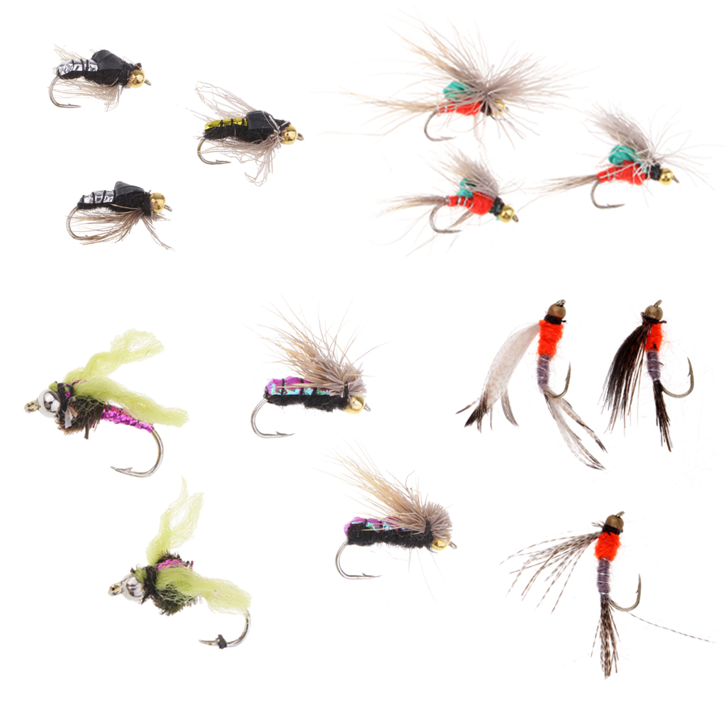 40pcs Handmade Baits Fly Fishing Lures Set Dry Flies for Trout Pike Bass